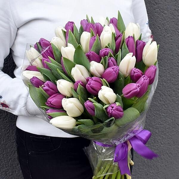 Violetinių ir baltų tulpių puokštė