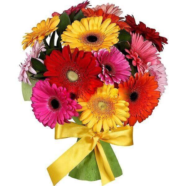 Spalvingos gerberos gėlių puokštės