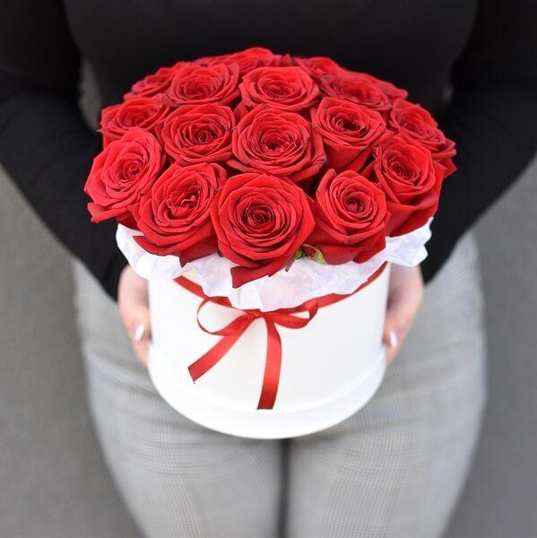 Raudonos rožės dėžutėse