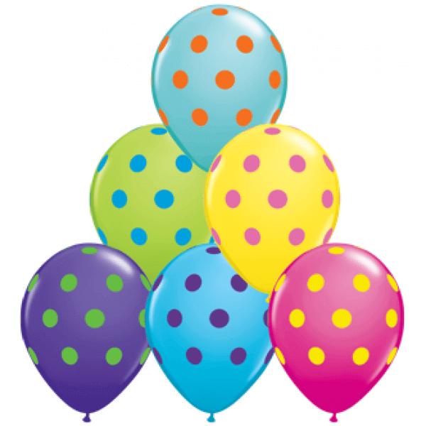 Taškuoti įvairių spalvų balionai
